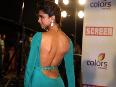 Deepika Padukone hot bare back show at 18th Annual Colors Screen Awards at MMRDA Grounds in Mumbai Photo