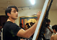 Ali Zafar painting a portrait of Aditi Rao Hydari to promote their film LONDON PARIS NEW YORK in Mumbai Photo