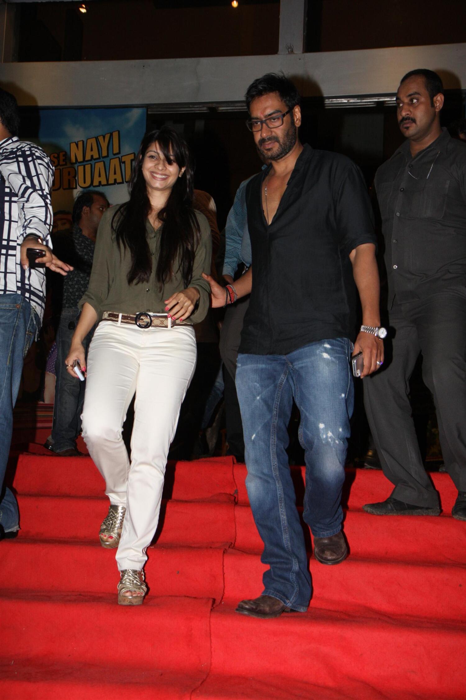 Ajay Devgan With Sister In Law Actress Tanisha Mukherjee At Special