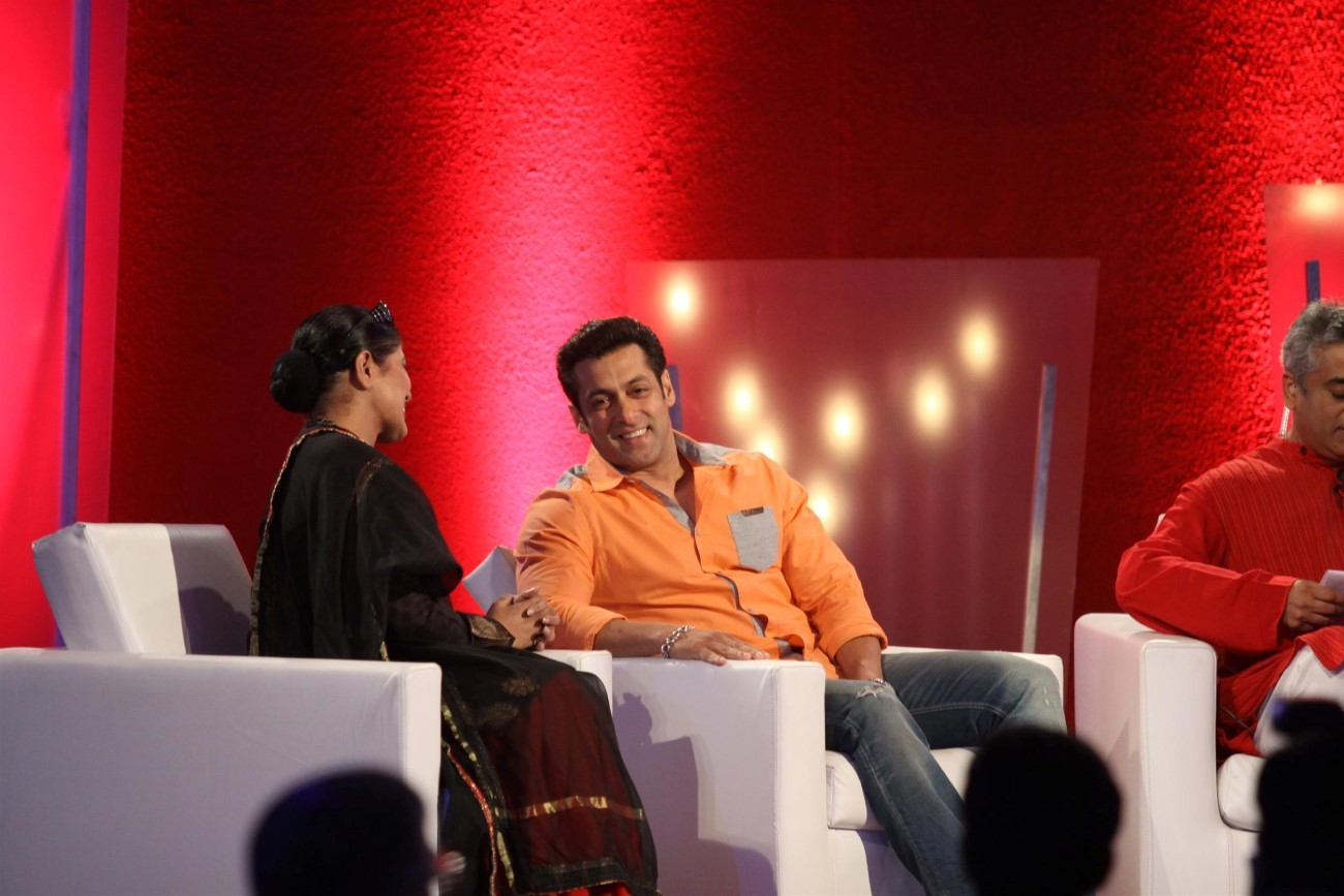 Salman Khan with Sudha Chandran at the Thums Up Being Human
