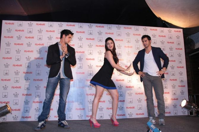 Alia Bhatt  Siddharth Malhotra  Varun Dhawan dancing at new FILMFARE cover launch party in Mumbai  1