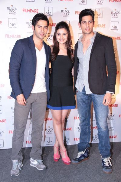 Alia Bhatt with Varun Dhawan  Siddharth Malhotra at new FILMFARE cover launch party in Mumbai  1