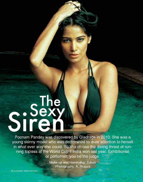 Poonam Pandey Gladrags Magazine Cover Page Hot Pic