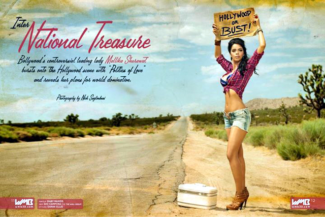 Mallika Sherawat Sizzles on World  s First 3D Magazine Photo