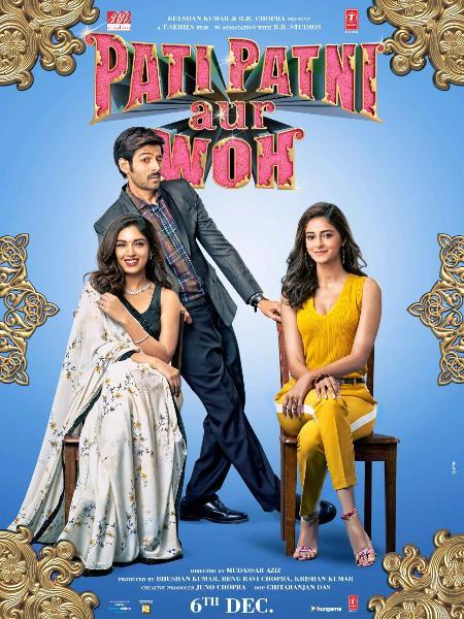 Kartik Aaryan  Bhumi Pednekar and Ananya Panday New posters of Pati Patni Aur Woh