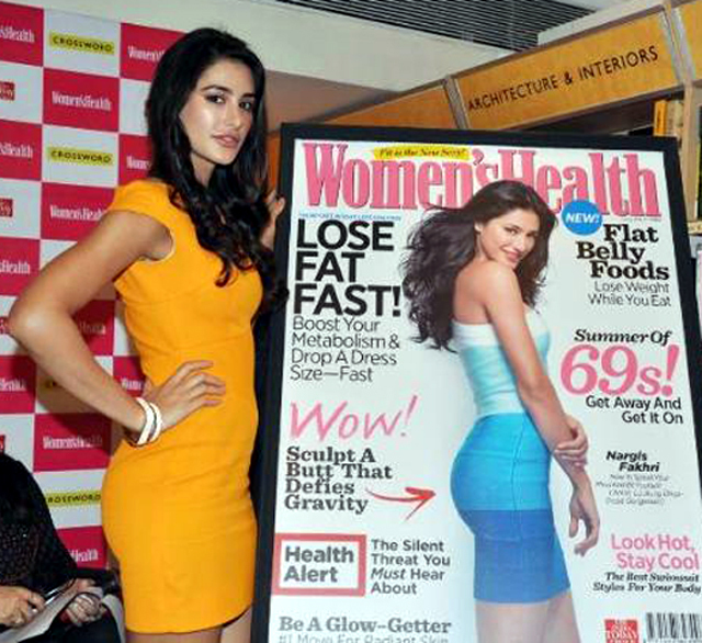 Nargis Fakhri unveiling the latest issue of WOMENS HEALTH magazine at the Crossword Store in Mumbai Pic