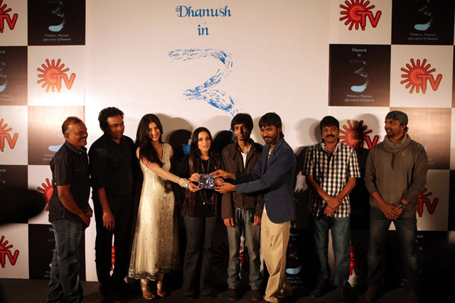 Dhanush and Shruti Hassan 3 Tamil Movie Audio Release Pic