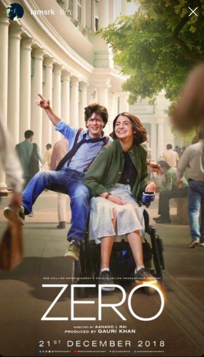Shah Rukh Khan and Anushka Sharma Zero Movie Poster